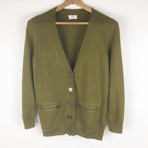MADEWELL | Wallace olive zipper cardigan sweater